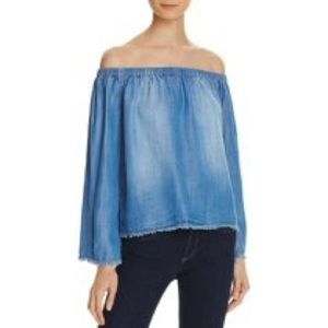 Bella Dahl Chambray Off The Shoulder Top Sz M